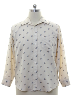 1970's Mens Subtle Print Disco Style Shirt