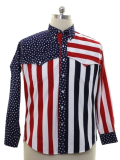 1980's Mens Totally 80s Patriotic Western Shirt