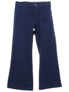 1970's Unisex Navy Denim Bellbottoms Jeans Pants