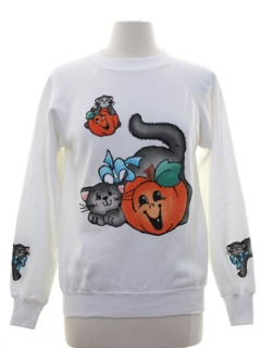 1980's Womens Cheesy Halloween Puffy Painted Sweatshirt