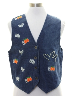 1990's Womens Cheesy Halloween Denim Vest