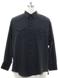 1980's Mens Black Western Shirt