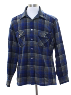 1980's Mens Wool Blend Flannel Shirt