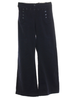 1960's Mens Navy Wool 13 Button Bellbottom Pants