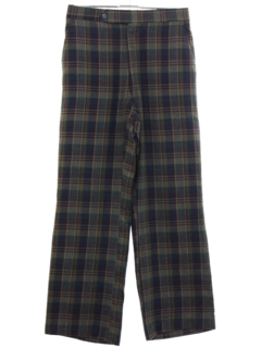 1980's Mens Plaid Flat Front Golf Style Slacks Pants