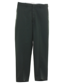 1980's Mens Flat Front Military Slacks Pants
