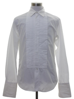 1960's Mens Mod Pleated French Cuff Tuxedo Shirt