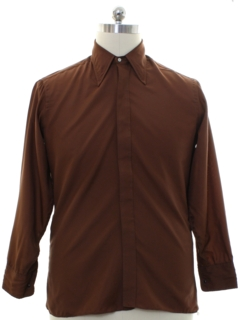 1970's Mens Designer Pierre Cardin Solid Disco Shirt