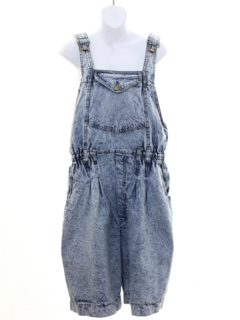 1980's Womens Totally 80s Acid Washed Denim Jumper Overalls