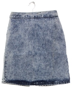 1980's Womens Totally 80s Acid Washed Bongo Denim Skirt