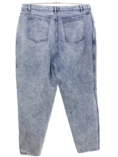 1980's Womens Totally 80s Style Acid Washed Denim Jeans Pants