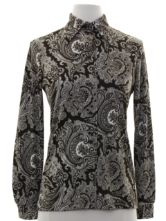 1970's Womens Paisley Print Disco Shirt