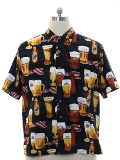 1990's Mens Beer Themed Graphic Print Sport Shirt