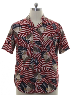 1990's Mens Patriotic Graphic Print Sport Shirt