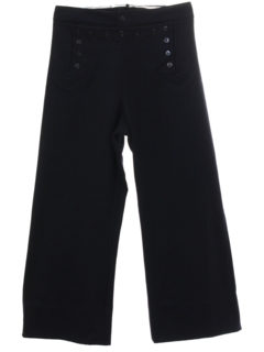 1970's Mens 13 Button Wool Navy Issue Bellbottom Pants