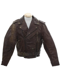 1980's Mens Grunge Motorcycle Leather Jacket