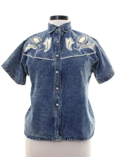 1980's Womens Totally 80s Denim Western Style Shirt