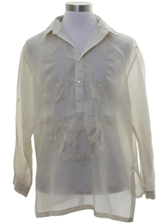 1980's Mens Sheer Hippie Style Tunic Shirt
