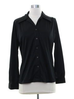 1970's Womens Black Solid Disco Shirt