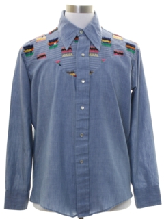 1970's Mens Chambray Western Hippie Shirt