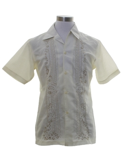 1980's Mens Embroidered Slightly Sheer Hippie Shirt
