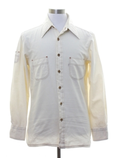 1970's Mens Mod Big E Levis Sport Shirt