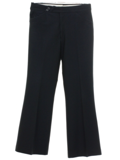 1970's Mens Black Flared Leisure Pants