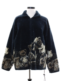 1980's Unisex Cheesy Fleece Bear Themed Jacket