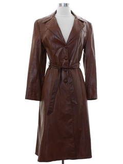1970's Womens Leather Overcoat Jacket
