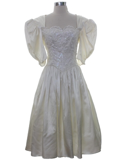 1980's Womens Totally 80s Gunne Sax Wedding Prom Or Cocktail Dress
