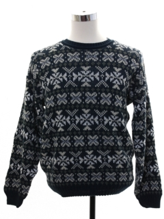 1980's Mens Totally 80s Geometric Snowflake Ski Sweater