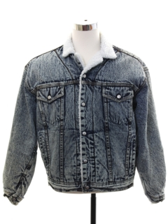 1980's Mens Grunge Totally 80s Style Acid Washed Denim Sherpa Jacket