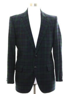 1980's Mens Preppy Plaid Blazer Sport Coat Jacket