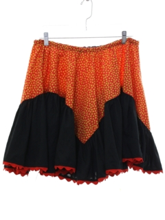 1970's Womens Hippie Square Dance Mini Skirt