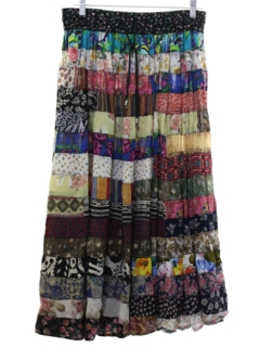 1970's Womens Patchwork Hippie Broomstick Style Skirt