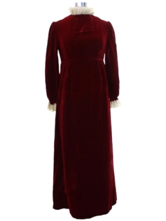 1960's Womens Mod Velvet Prom or Cocktail Dress