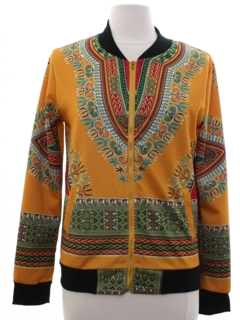 1990's Womens Dashiki Print Hippie Jacket