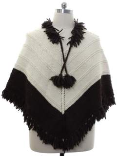 1980's Unisex Hand Knit Hippie Poncho Sweater
