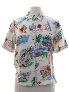 1980's Womens Hawaiian Tourist Style Shirt