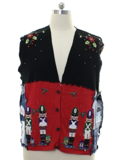 1980's Womens Hand Made Patchwork Ugly Christmas Sweater Vest