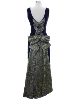 1980's Womens  Totally 80s Velvet Prom Or Cocktail Dress