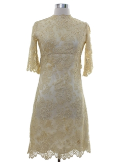 1960's Womens Mod Lace Prom Or Cocktail Dress