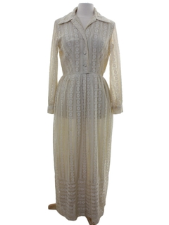 1970's Womens Mod Lace Maxi Dress