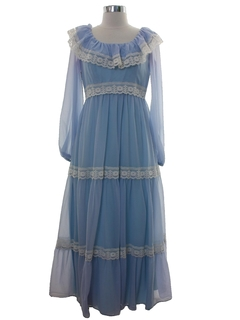 1970's Womens Prairie Hippie Style Prom Or Cocktail Dress