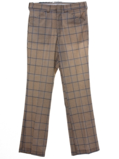 1970's Mens Plaid Flared Leisure Pants