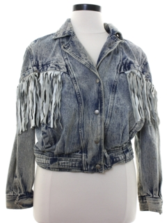 1980's Womens Totally 80s Fringed Denim Jacket
