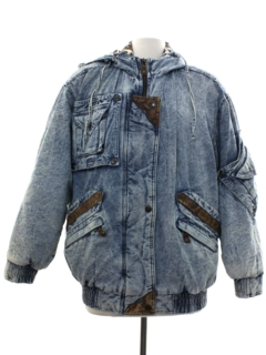 1980's Womens Totally 80s Acid Washed Hoodie Denim Jacket