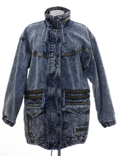 1980's Womens Totally 80s Style Acid Washed Denim Car Coat Jacket