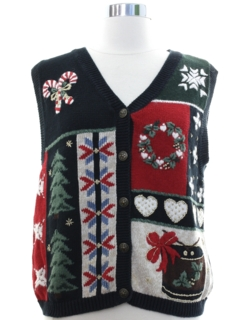 1980's Womens Country Kitsch Style Ugly Christmas Sweater Vest