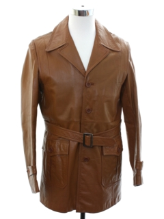 1970's Mens Mod Leather Car Coat Jacket